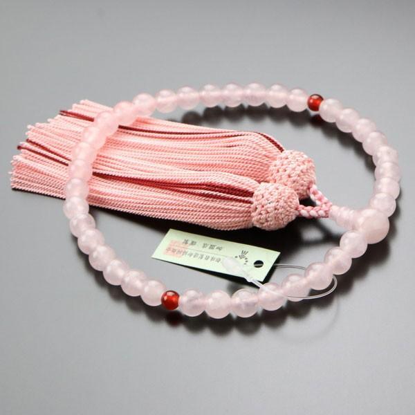 数珠 女性用 ローズクォーツ 二天 瑪瑙 約7ミリ 正絹房 数珠袋付き|nenjyu|02