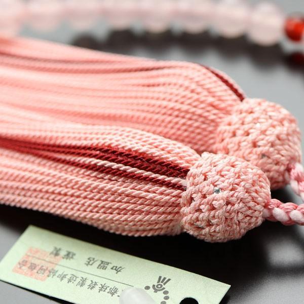 数珠 女性用 ローズクォーツ 二天 瑪瑙 約7ミリ 正絹房 数珠袋付き|nenjyu|04
