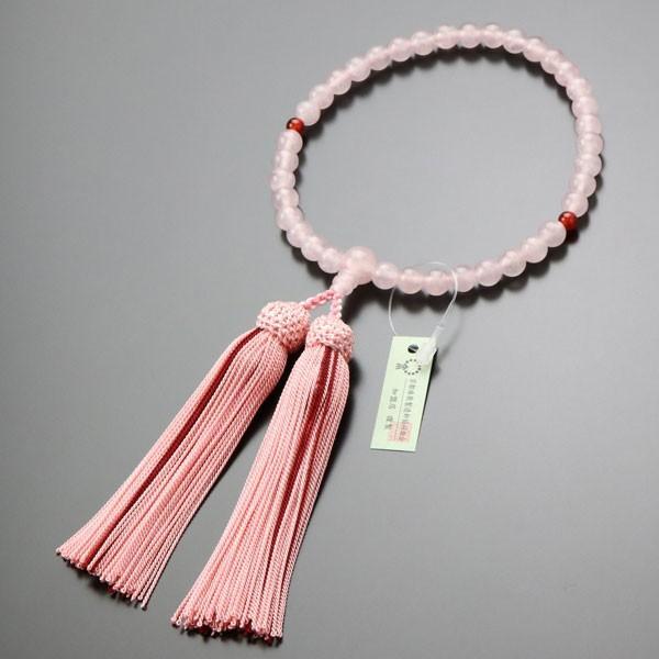 数珠 女性用 ローズクォーツ 二天 瑪瑙 約7ミリ 正絹房 数珠袋付き|nenjyu|05