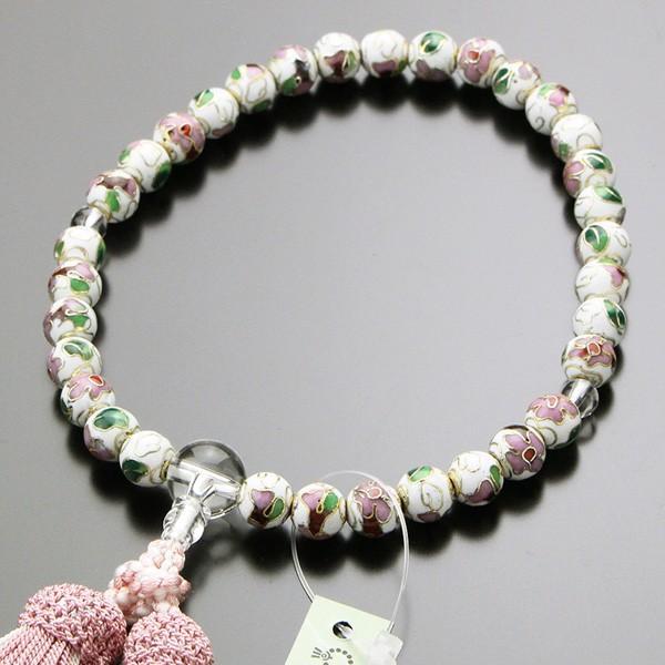 数珠 女性用 約8ミリ 七宝焼(白) 本水晶 正絹2色房 数珠袋付き|nenjyu
