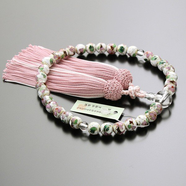 数珠 女性用 約8ミリ 七宝焼(白) 本水晶 正絹2色房 数珠袋付き|nenjyu|02