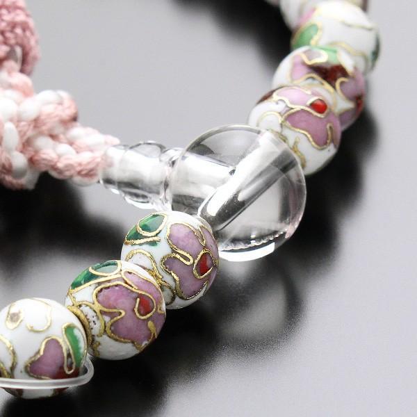 数珠 女性用 約8ミリ 七宝焼(白) 本水晶 正絹2色房 数珠袋付き|nenjyu|03