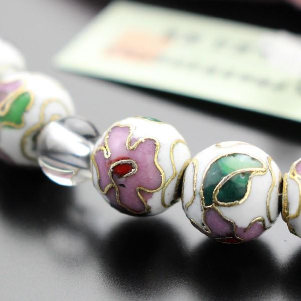 数珠 女性用 約8ミリ 七宝焼(白) 本水晶 正絹2色房 数珠袋付き|nenjyu|04