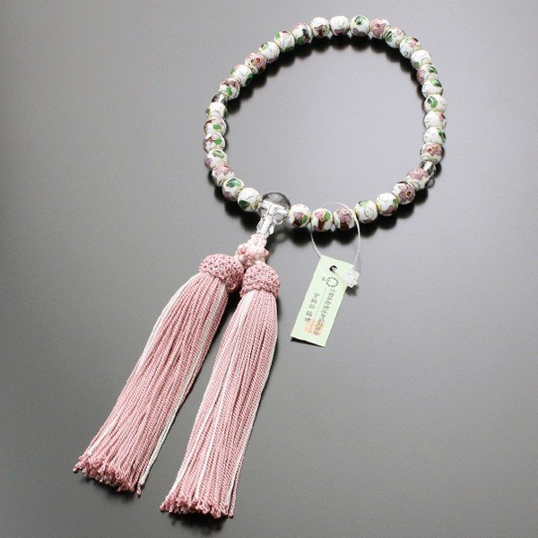 数珠 女性用 約8ミリ 七宝焼(白) 本水晶 正絹2色房 数珠袋付き|nenjyu|05