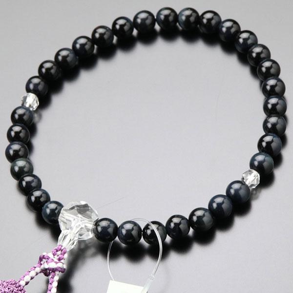 数珠 女性用 青虎目石 カット水晶 約8ミリ 正絹2色房|nenjyu