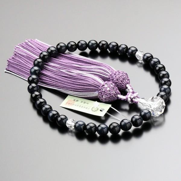 数珠 女性用 青虎目石 カット水晶 約8ミリ 正絹2色房|nenjyu|02