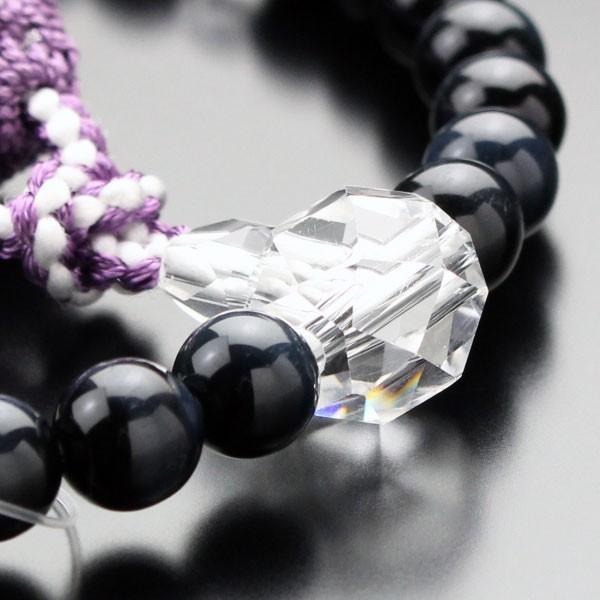 数珠 女性用 青虎目石 カット水晶 約8ミリ 正絹2色房|nenjyu|03