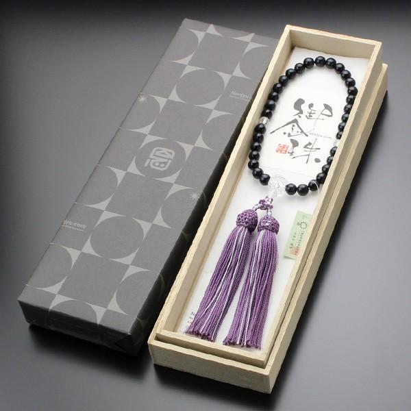 数珠 女性用 青虎目石 カット水晶 約8ミリ 正絹2色房|nenjyu|06