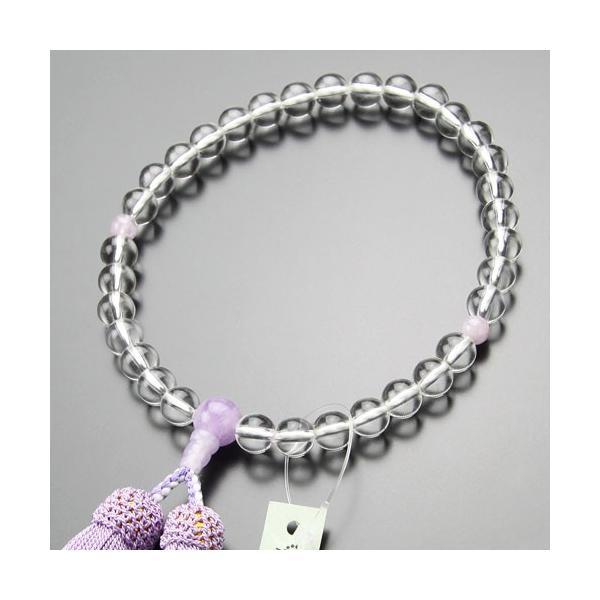 【送料無料】数珠 女性用 約8ミリ 本水晶 藤雲石 正絹房 略式数珠 看板京念珠 nenjyu