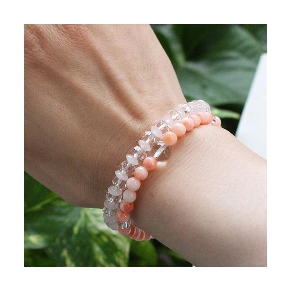 数珠ブレスレット 深海珊瑚 本水晶 約5ミリ パワーストーン|nenjyu|03