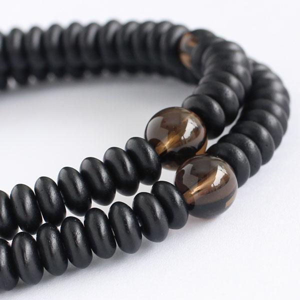数珠 ブレスレット 108玉 みかん玉 艶消 黒檀 茶水晶 木製 nenjyu