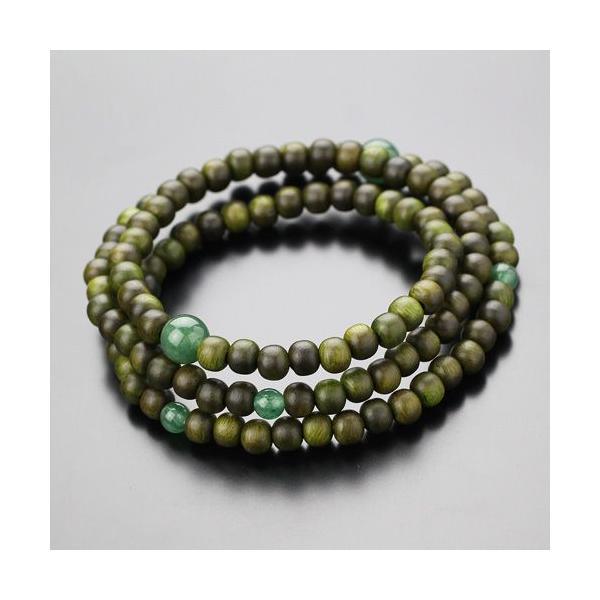 数珠ブレスレット 108玉 3重 緑檀 印度翡翠 腕輪念珠 nenjyu