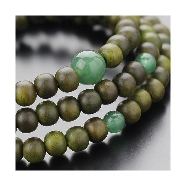 数珠ブレスレット 108玉 3重 緑檀 印度翡翠 腕輪念珠 nenjyu 02