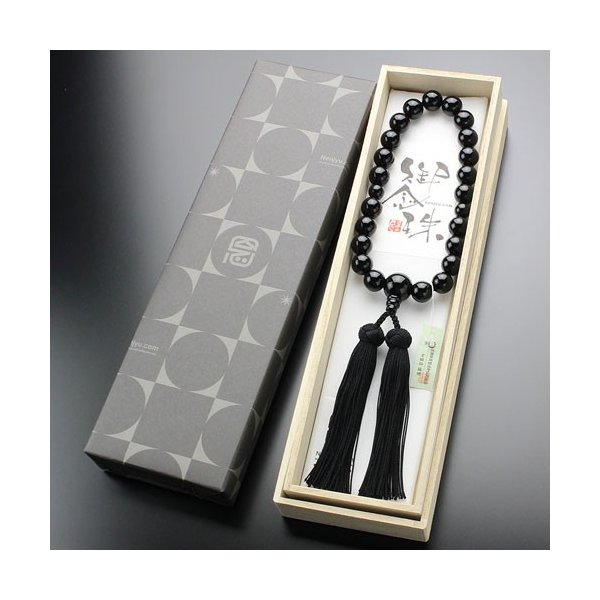 数珠 男性用 黒オニキス 22玉 正絹かがり房 京念珠|nenjyu|05