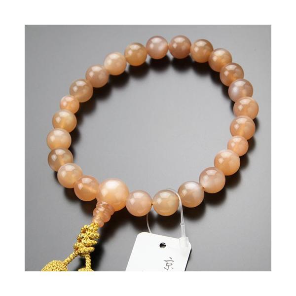 喜芳 遺作品 一点モノ 念珠 数珠 男性用 22玉 上質 オレンジムーンストーン 正絹2色房 数珠袋付き|nenjyu|02