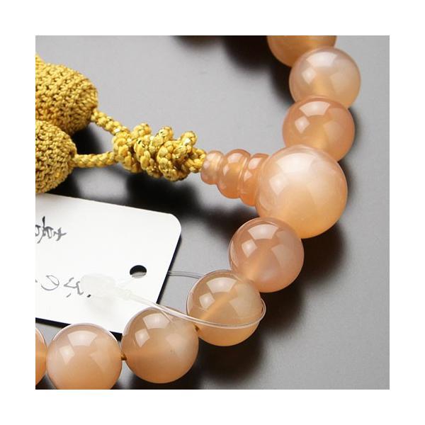喜芳 遺作品 一点モノ 念珠 数珠 男性用 22玉 上質 オレンジムーンストーン 正絹2色房 数珠袋付き|nenjyu|03