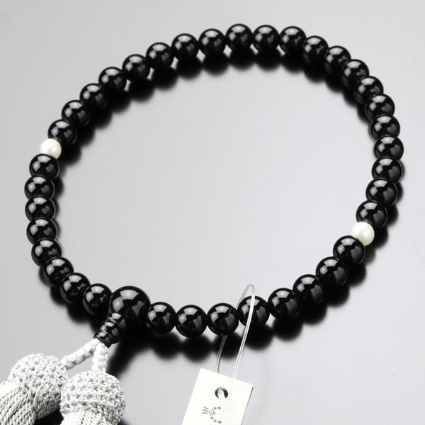 数珠 女性用 オニキス 淡水パール 約7ミリ 正絹2色房 数珠袋付き|nenjyu