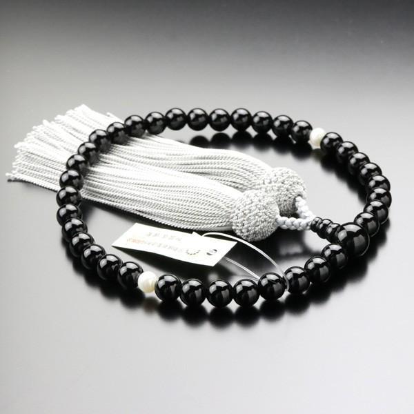 数珠 女性用 オニキス 淡水パール 約7ミリ 正絹2色房 数珠袋付き|nenjyu|02