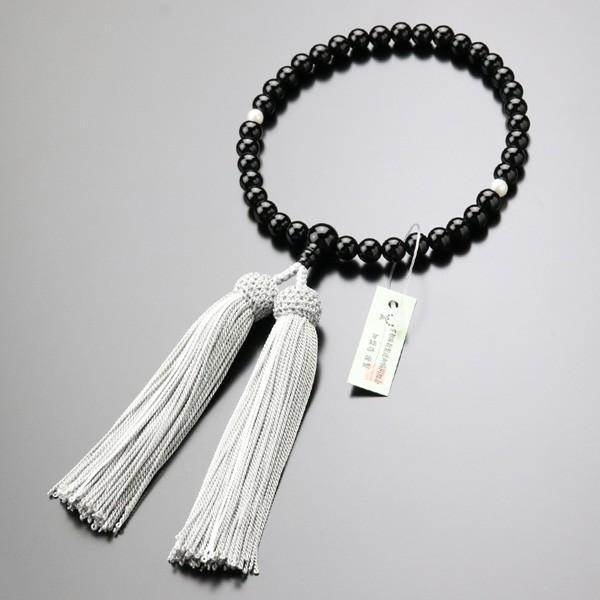 数珠 女性用 オニキス 淡水パール 約7ミリ 正絹2色房 数珠袋付き|nenjyu|05