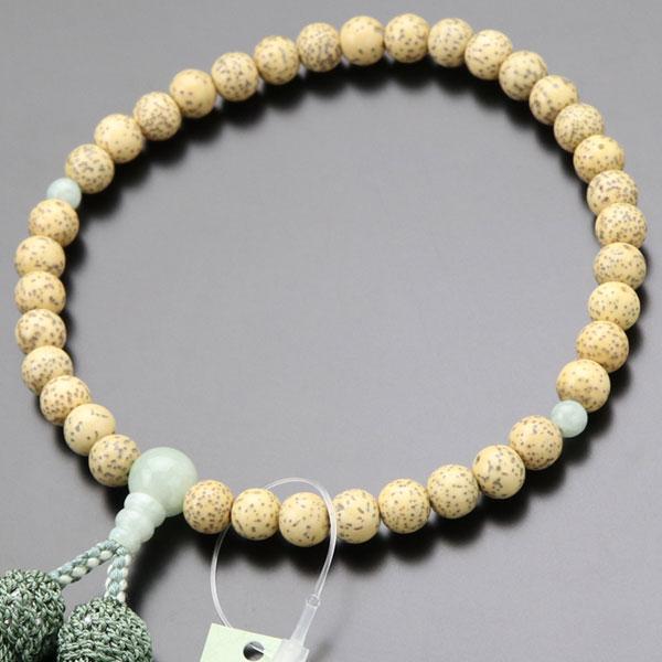 数珠 女性用 約7×7.5ミリ 星月菩提樹 ビルマ翡翠 正絹房 略式数珠 数珠袋付き nenjyu
