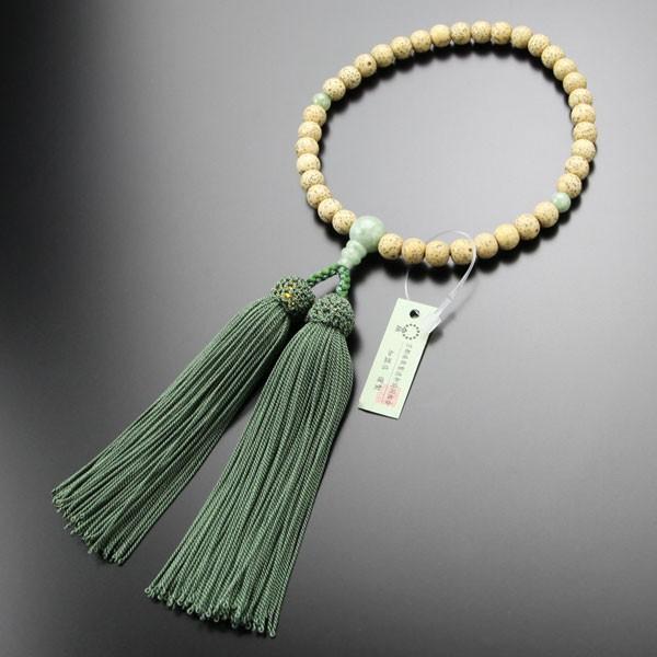 数珠 女性用 約7×7.5ミリ 星月菩提樹 ビルマ翡翠 正絹房 略式数珠 数珠袋付き nenjyu 03