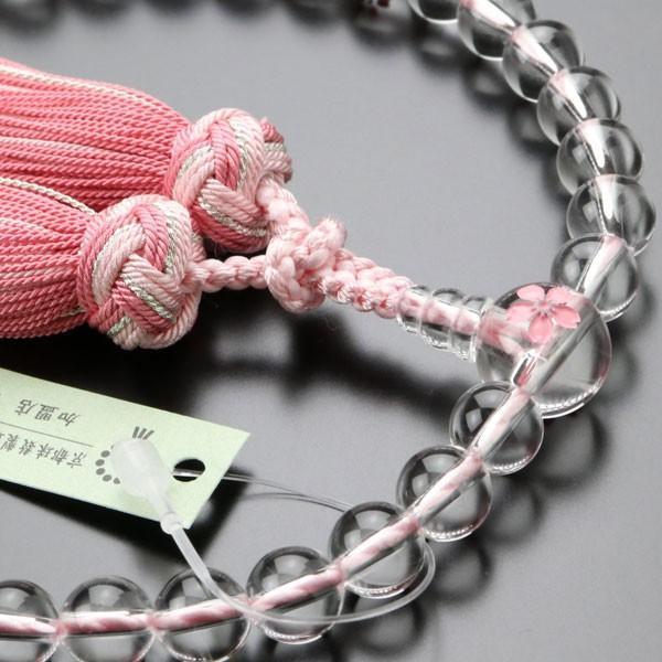 数珠 女性用 約8ミリ 本水晶 桜彫り 銀花かがり房 数珠袋付き|nenjyu|03