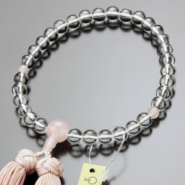 数珠 女性用 本水晶 ローズクォーツ 約8ミリ 京かがり房|nenjyu
