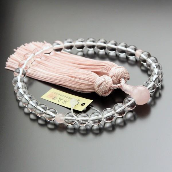 数珠 女性用 本水晶 ローズクォーツ 約8ミリ 京かがり房|nenjyu|02