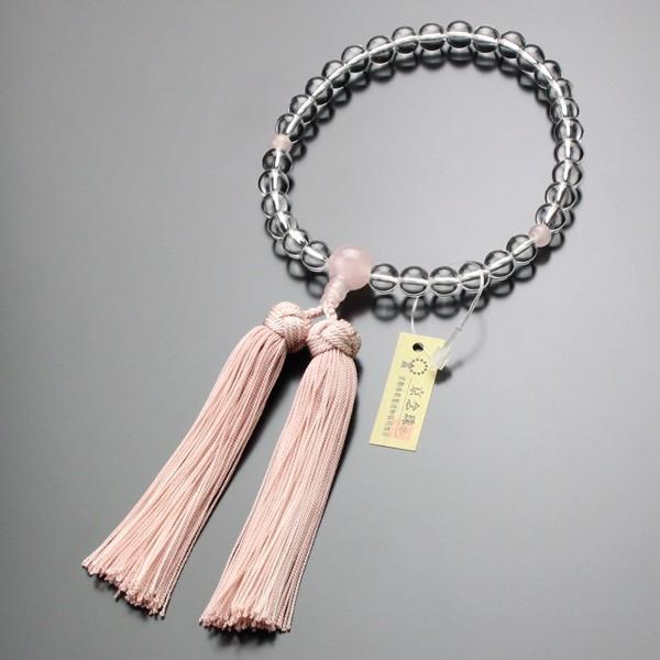 数珠 女性用 本水晶 ローズクォーツ 約8ミリ 京かがり房|nenjyu|05