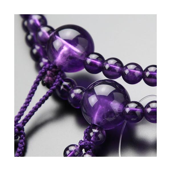 日蓮宗 数珠 男性用 尺二 紫水晶 梵天房 数珠袋付き|nenjyu|02