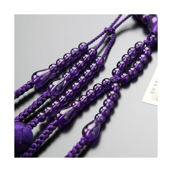 日蓮宗 数珠 男性用 尺二 紫水晶 梵天房 数珠袋付き|nenjyu|03