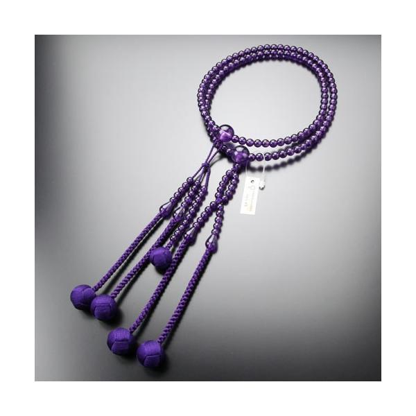 日蓮宗 数珠 男性用 尺二 紫水晶 梵天房 数珠袋付き|nenjyu|05
