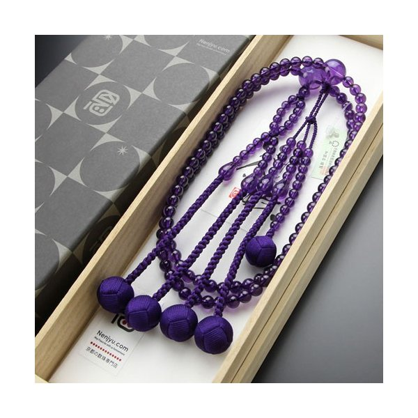 日蓮宗 数珠 男性用 尺二 紫水晶 梵天房 数珠袋付き|nenjyu|06