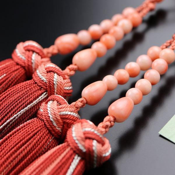 八宗派兼用 数珠 女性用 8寸 4A´ 深海珊瑚 銀花かがり房 数珠袋付き|nenjyu|03