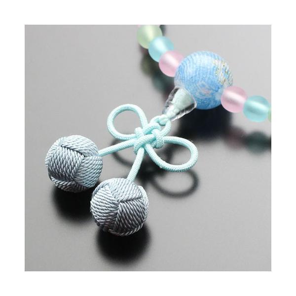 【送料無料】数珠 子供用 さくらんぼ房(ブルー) nenjyu 03