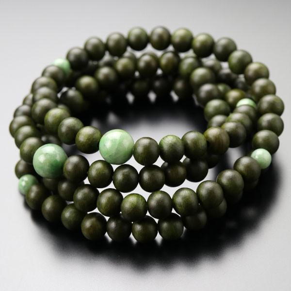 数珠ブレスレット 108玉 4重 緑檀(生命樹) 独山玉 腕輪念珠 nenjyu