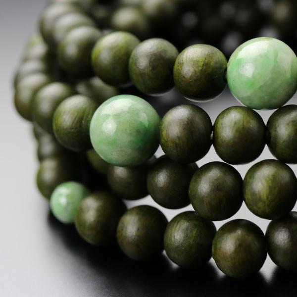 数珠ブレスレット 108玉 4重 緑檀(生命樹) 独山玉 腕輪念珠 nenjyu 02