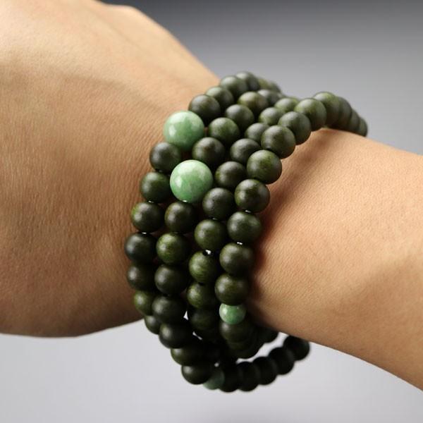 数珠ブレスレット 108玉 4重 緑檀(生命樹) 独山玉 腕輪念珠 nenjyu 04