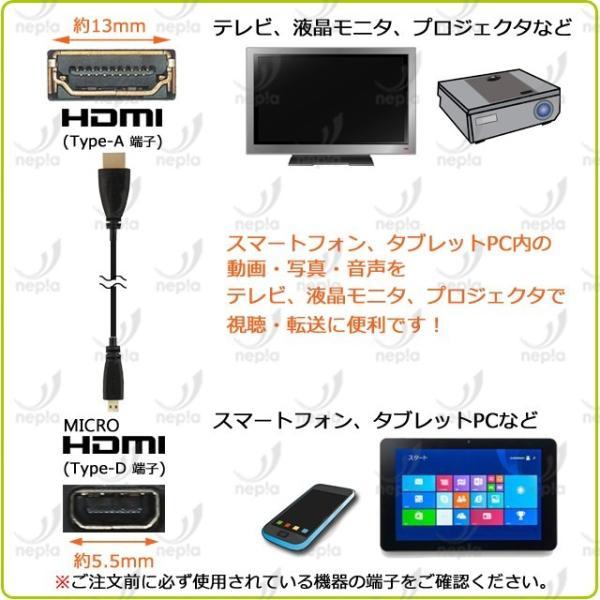 【送料無料・複数購入割引】 HDMI - micro HDMI ケーブル 2m ・金メッキ端子 (イーサネット対応・Type-D・マイクロ)|nepia|02