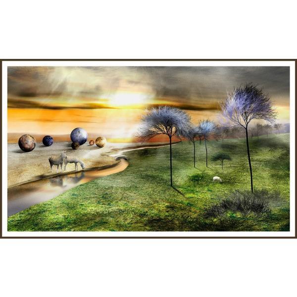絵画 ネルバ作「橋のむこうに子羊のいるたそがれどき」116-278 ジクレー版画 2016年製作 限定16枚|nerva