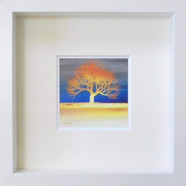 北欧ネルバ作「夕映えの木」額付き 2015年製作 限定100枚  ジクレー版画 ヨーロッパで大人気 215-252|nerva