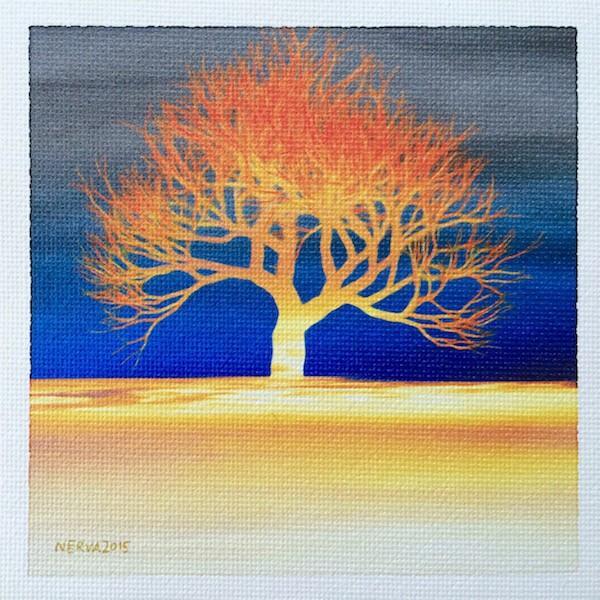 北欧ネルバ作「夕映えの木」額付き 2015年製作 限定100枚  ジクレー版画 ヨーロッパで大人気 215-252|nerva|03