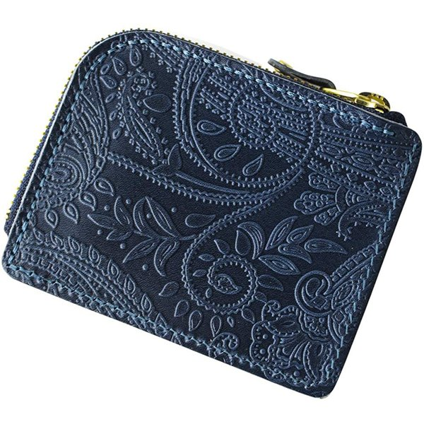 VINCENTCRAFTED日本製栃木レザーペイズリーL字ファスナーミニウォレットFARIA小さい財布レディースメンズヴィンセ
