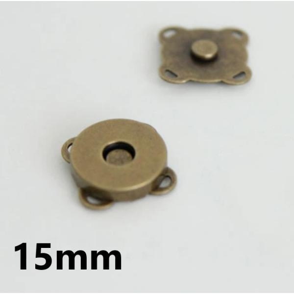 【ボタン】花マグネットボタン(アンティークゴールド15mm)1set