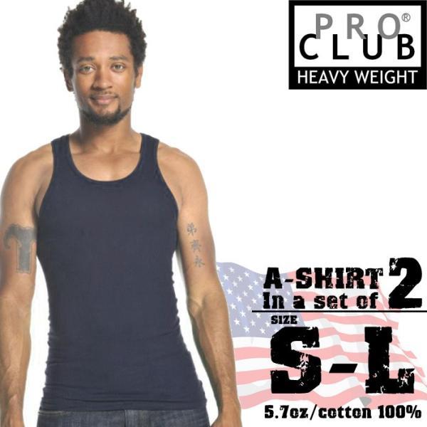 プロクラブ リブタンクトップ 2枚セット PRO CLUB A-SHIRT BLACK 2pcs #112 無地 タンク タンクトップ 黒 2枚組 大きいサイズ[ZRC]