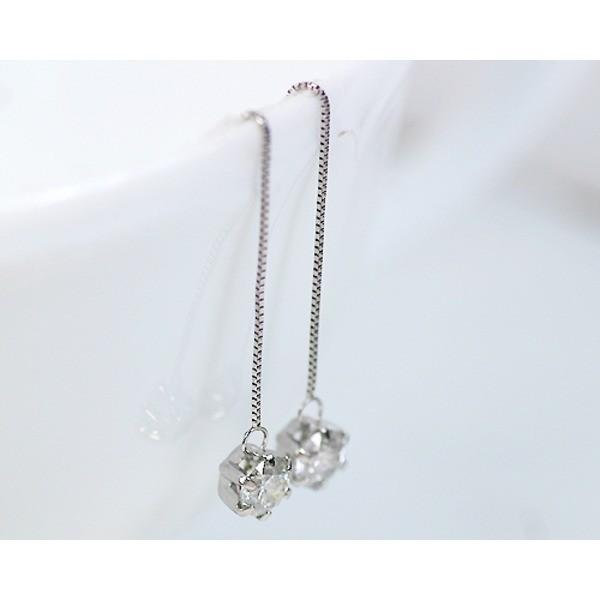 プラチナ 0.6ctダイヤモンドピアス チェーンピアス