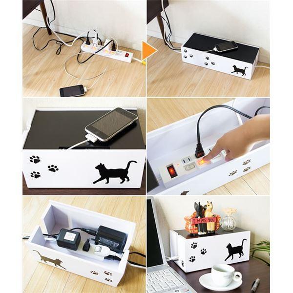 猫のケーブルボックス(コード収納/ケーブル収納) 小 幅30cm 黒猫(ねこ)柄 保護クッション付き 〔完成品〕|net-plaza|02
