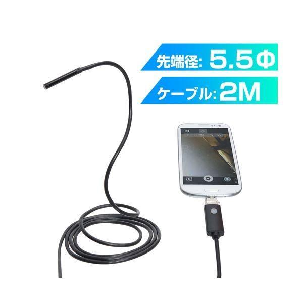 (まとめ) サンコー Android/PC両対応5.5mm径内視鏡ケーブル 2m 形状記憶タイプ MCADNEW2 〔×2セット〕