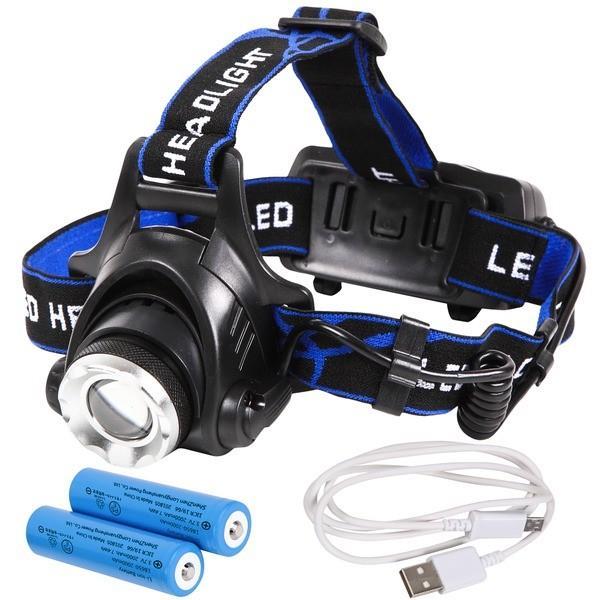 Tomo Light LEDヘッドライト 充電式 地震 台風 大雪 防災 特化型 単眼ライト PSE認証 18650型リチウムイオンバッテリー 2本付属〔3個セット〕