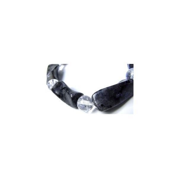 超希少 流れるようなスクリューカットブレスレット ラブラドライト×水晶
